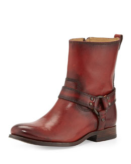 Frye Melissa Short Harness Zip Boot, Burnt Red
