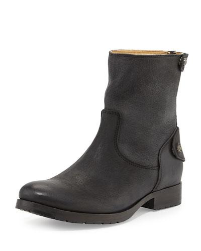 Melissa Zip/Snap Short Boot, Black