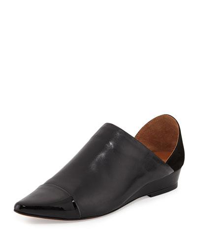 Ava Capped Pointed-Toe Flat, Black