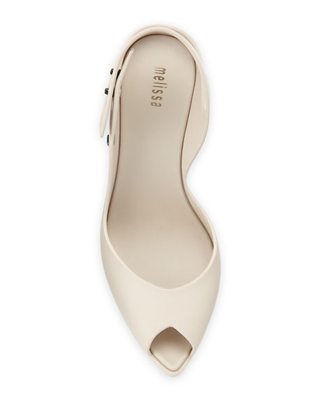 Flip Jelly Chunky-Heel Sandal, Cream/Black