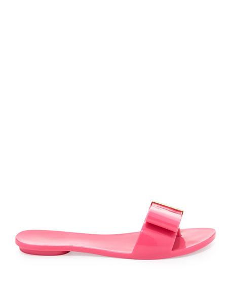 Lovely Bow Flat Slide Jelly Sandal, Pink
