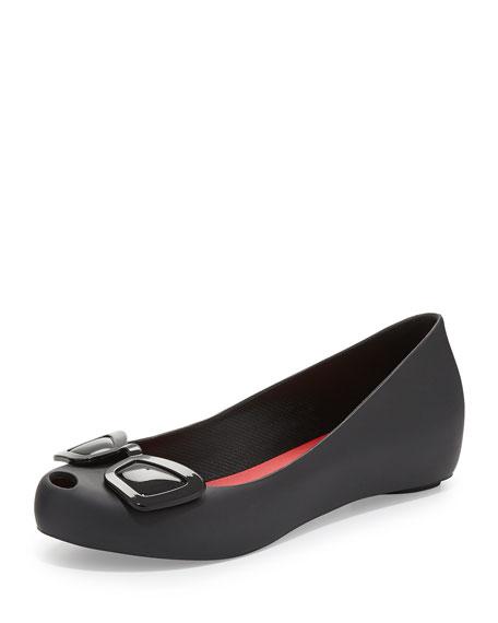 Karl Lagerfeld Ultragirl Jelly Ballet Flats, Black