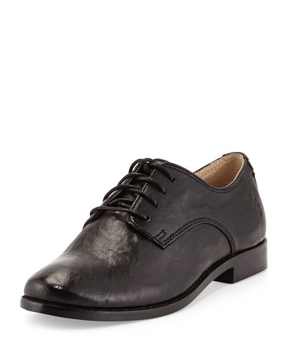 Frye Anna Lace-Up Leather Oxford, Black