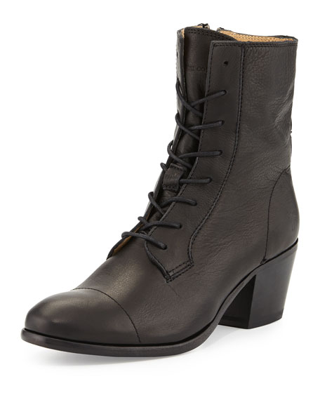 Courtney Lace-Up Leather Ankle Boot, Black