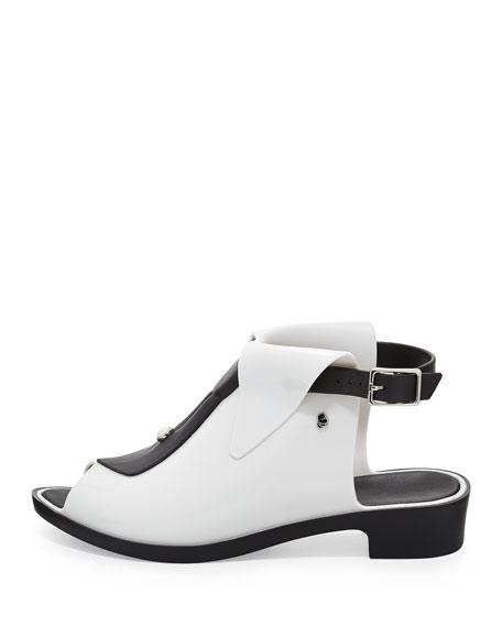 Karl Lagerfeld Black-Tie Jelly Glove Flat, White/Black