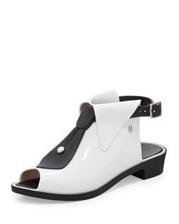 Melissa Shoes Karl Lagerfeld Black-Tie Jelly Glove Flat, White/Black