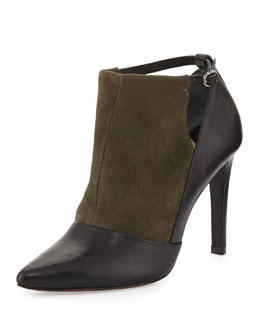 10 Crosby Derek Lam Casia Two-Tone Textured Ankle Bootie, Black Olive