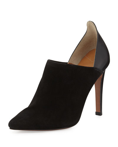 Cohen Suede Pointy-Toe Bootie, Black