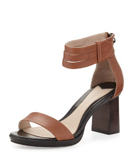 10 Crosby Derek Lam Marcel Triple-Split Ankle-Wrap City Sandal, Toffee