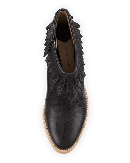 Monet Tumbled Leather Fringe Bootie, Black