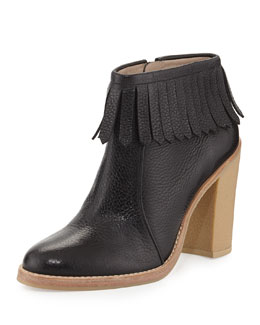 10 Crosby Derek Lam Monet Tumbled Leather Fringe Bootie, Black