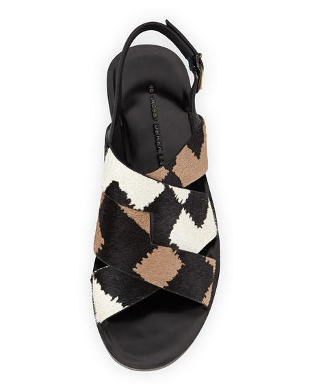 Poet Calf Hair Strappy Sandal, Black/White