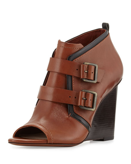 Zale Leather Buckle Wedge Bootie, Toffee