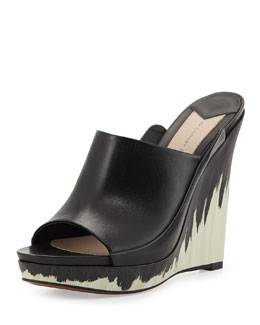 10 Crosby Derek Lam Glinda Hand-Painted Leather Wedge Mule, Black