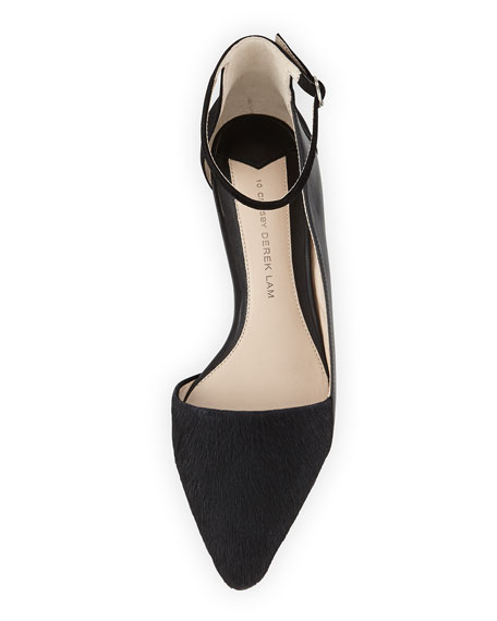 Avery Calf Hair Point-Toe Flat, Black