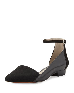 10 Crosby Derek Lam Avery Calf Hair Point-Toe Flat, Black