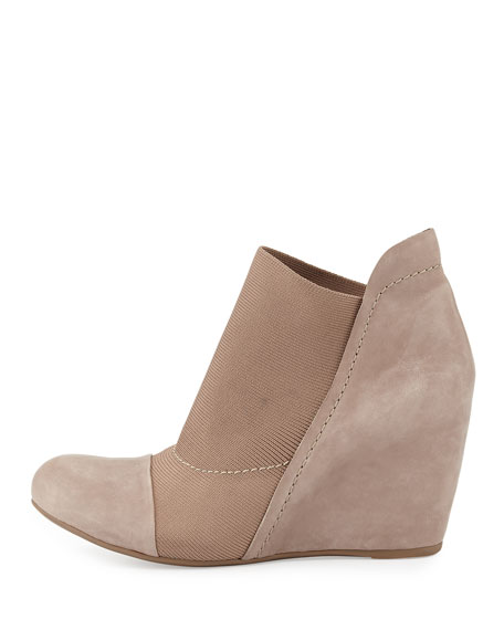 Fenton Stretch Suede Wedge Bootie, Mushroom