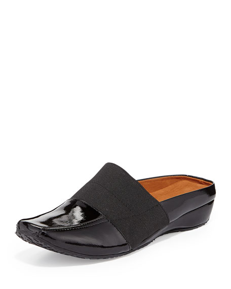 Iso Stretch Patent Mule, Black