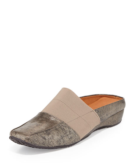 Iso Stretch Metallic Mule, Silver/Pewter