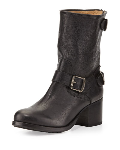 Frye Vera Back-Zip Short Boot, Black