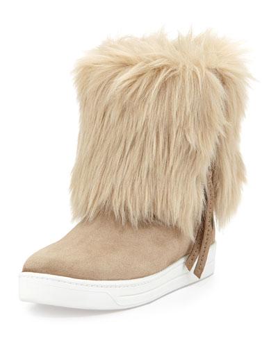 Prada Linea Rossa Furry Fold-Over Ankle Boot, Deserto
