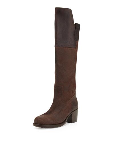 Frye Autumn Shield Leather Knee Boot, Dark Brown