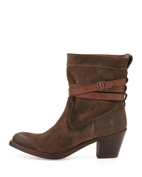 Jane Suede Ankle-Wrap Short Boot, Charcoal