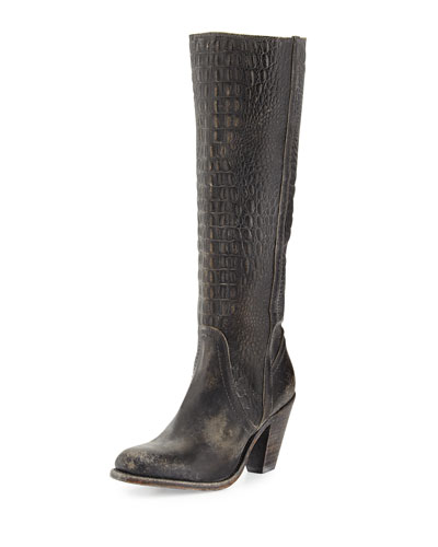 Frye Mustang Crocodile-Embossed Tall Boot, Black