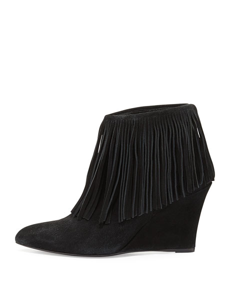 Fringe Suede Wedge Bootie, Black