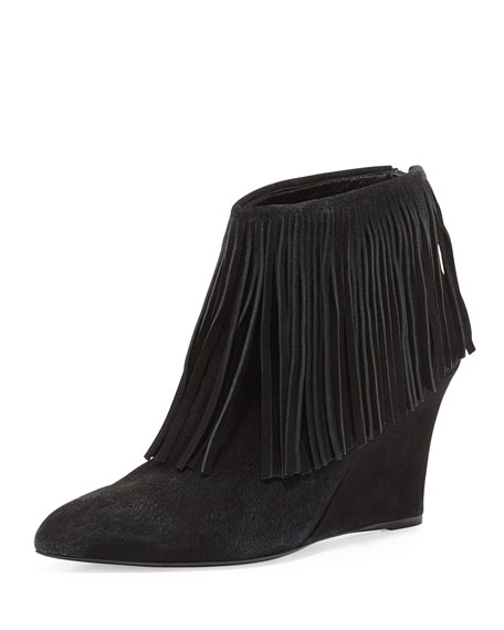 elysewalker los angeles Fringe Suede Wedge Bootie, Black