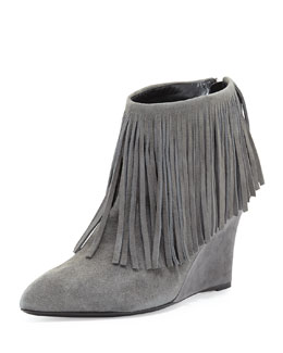 elysewalker los angeles Fringe Suede Wedge Bootie, Charcoal
