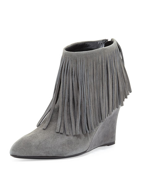 Fringe Suede Wedge Bootie, Charcoal