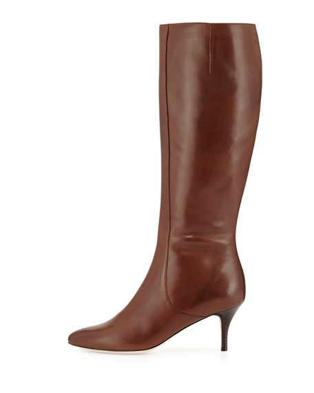 Carlyle Leather Knee Boot, Chestnut