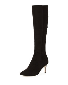 Cole Haan Elisha Suede Stretch Knee Boot, Black