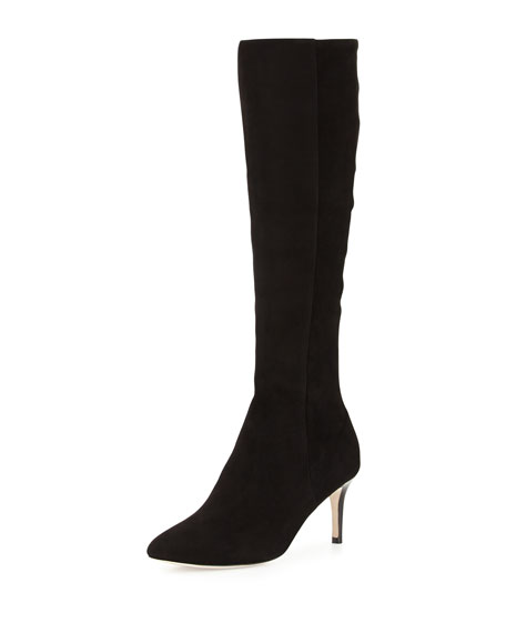 Elisha Suede Stretch Knee Boot, Black