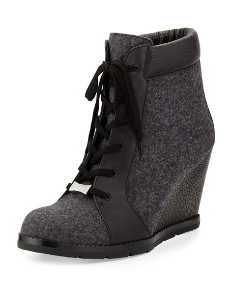 saja lace-up wedge bootie, black