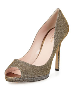 kate spade new york fine lamé peep-toe pump