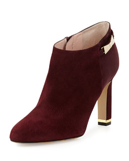 kate spade new york aldaz suede bow-buckle ankle boot