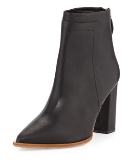 Loeffler Randall Mercer Pointy-Toe Leather Bootie, Black