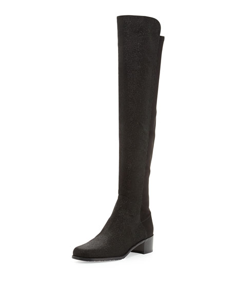 Stuart Weitzman Reserve Pindot Over-the-Knee Boot, Black