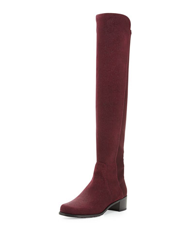 Stuart Weitzman Reserve Pindot Over-the-Knee Boot, Bordeaux (Made to Order)