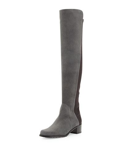 Stuart Weitzman Reserve Suede Over-the-Knee Boot, Smoke (Made to Order)