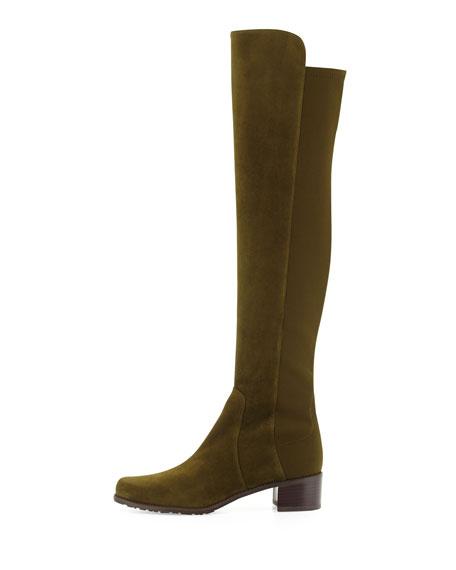 Stuart Weitzman Reserve Suede Over-the-Knee Boot, Olive
