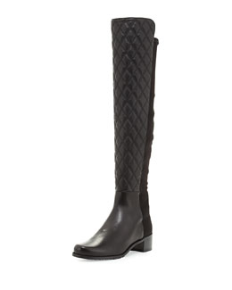 Stuart Weitzman Quiltoga Reserve Leather Over-the-Knee Boot, Black (Made to Order)