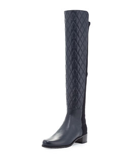 Stuart Weitzman Quiltoga Reserve Leather Over-the-Knee Boot, Navy (Made to Order)