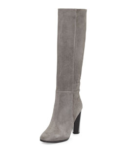 Diane von Furstenberg Pagri Suede Over-the-Knee Boot, Gray