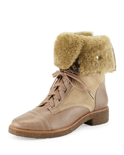 Diane von Furstenberg Alexia Shearling Fur-Lined Combat Boot, Flint Taupe