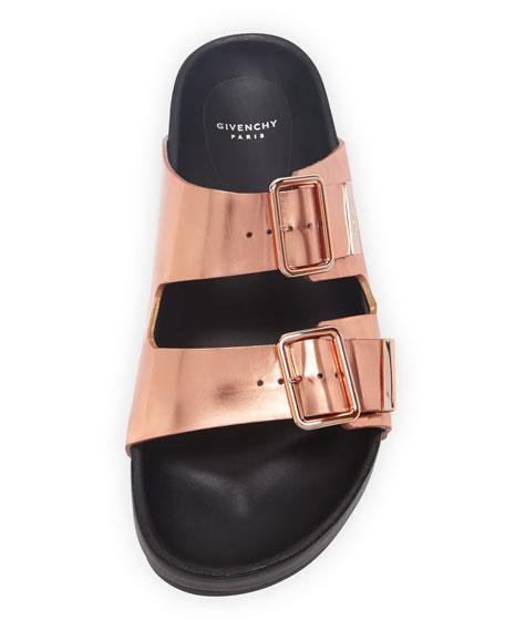 Swiss Metallic Flat Sandal