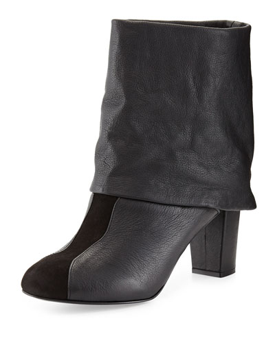 See by Chloe Cuffed Leather Bootie, Black