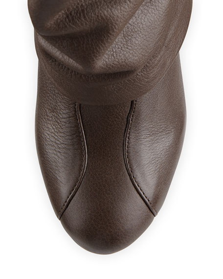 Cuffed Leather Knee Boot, Natural